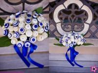 bouquet bouton bleu